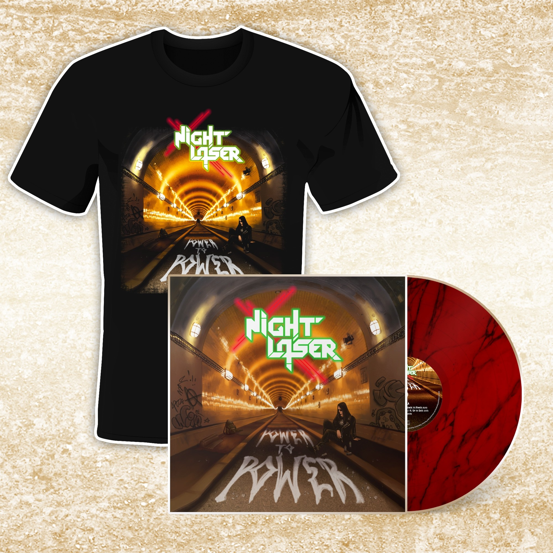 Night Laser - Power To Power - T-Shirt/LP Bundle