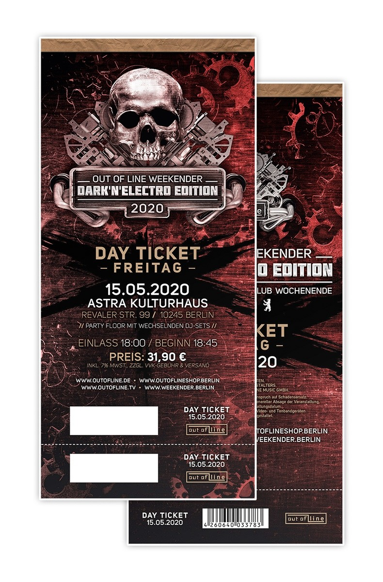 "Out Of Line Weekender 2020 ""DARK'N'ELECTRO EDITION"" (Fr.) - 06.11.20 Berlin/Astra Kulturhaus - Tagesticket"