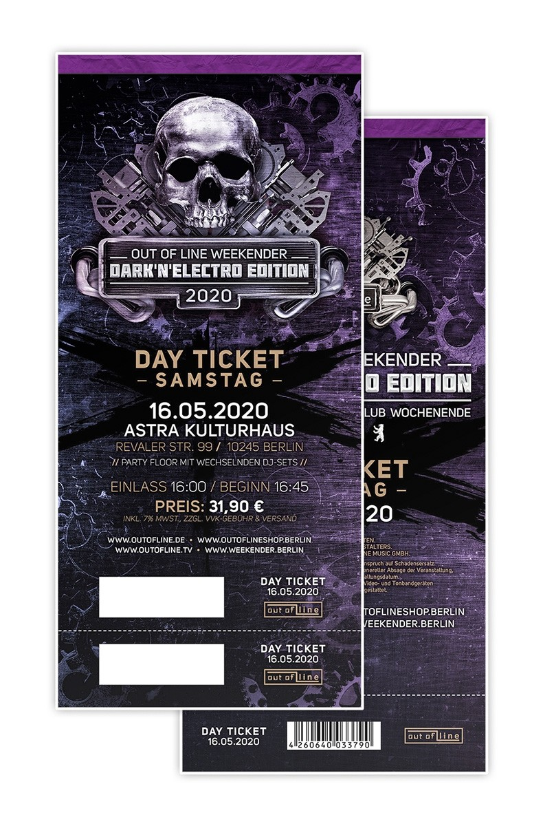 "Out Of Line Weekender 2020 ""DARK'N'ELECTRO EDITION"" (Sa.) - 16.05.20 Berlin/Astra Kulturhaus - Tagesticket"