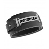 Agonoize - Schrift – Leather/Chrome/Steel wristband - Armband - Leather/Chrome/Steel wristband